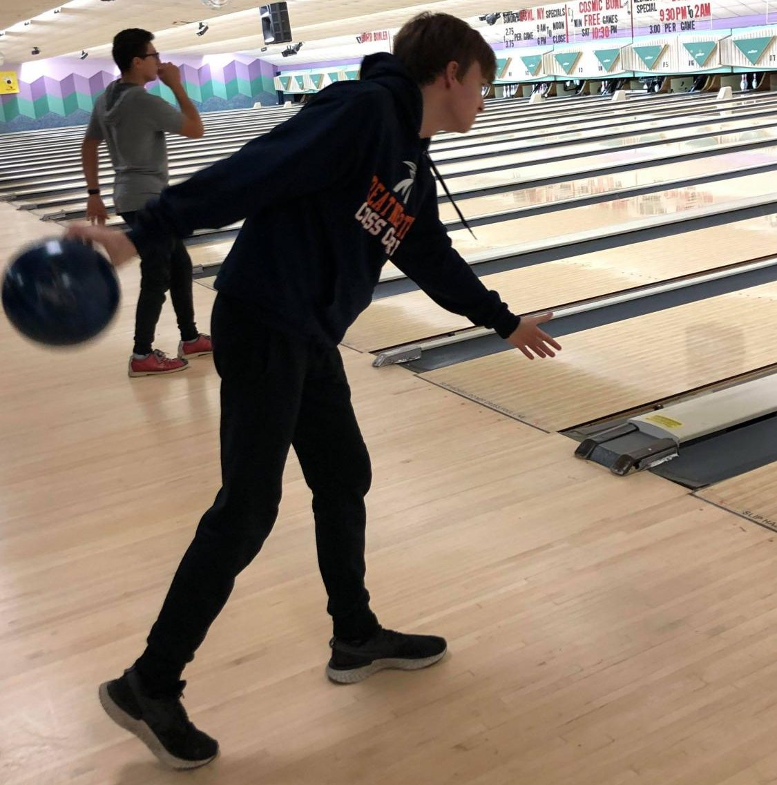 Jan Kaluta, a new member of North High's bowling team aims for a strike during practice at Herrill Lanes. The bowling team, despite its incognito existence, has seen a recent resurgence, as this was the first time in recent years not everyone who tried-out made the team.