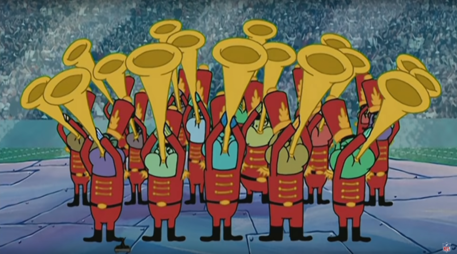 The+Bikini+Bottom+Super+Band+prepares+to+play+a+portion+of+%22Sweet+Victory%22+during+the+Halftime+Show+of+Super+Bowl+LIII.+Only+the+opening+seconds+were+shown+during+the+show+in+order+to+introduce+Travis+Scott%2C+to+the+disappointment+of+some+SpongeBob+SquarePants+fans.+%5BPicture+Credit%3A+YouTube%5D