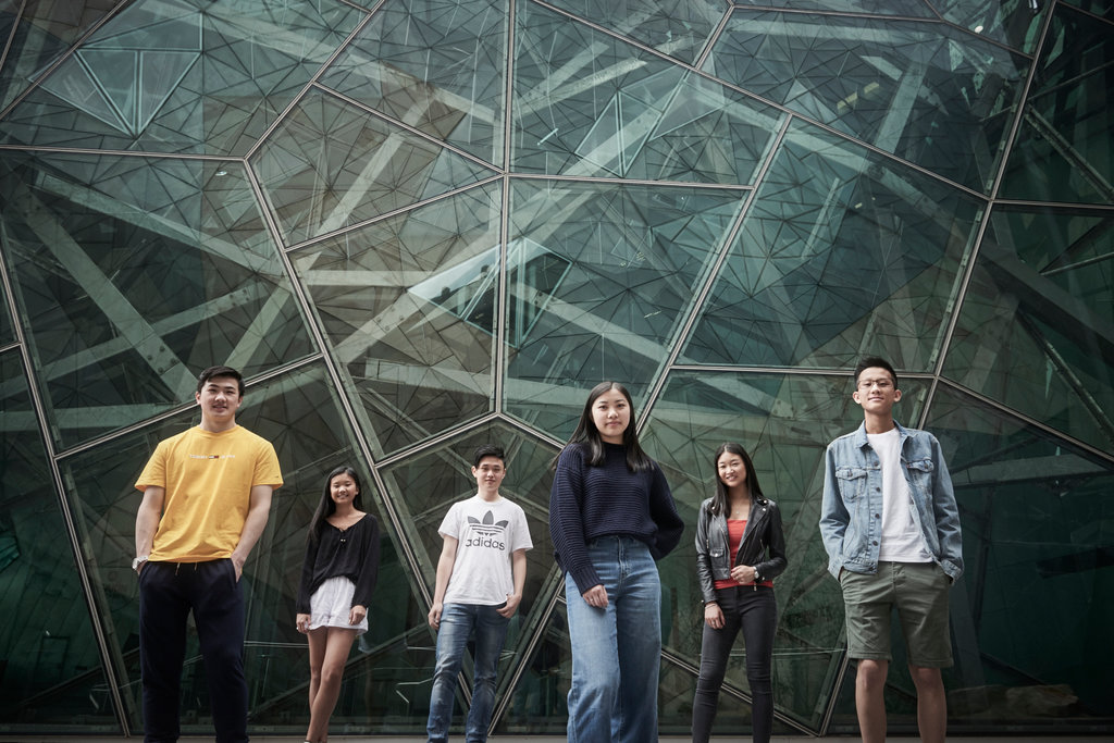 """Six of the nine founders of """"Subtle Asian Traits."""" From left: Brendan Wang, 18, Anny Xie, 17, Darren Qiang, 17, Kathleen Xiao, 18, Angela Kang, 21 Tony Xie, 17. Taken from the New York Times."""