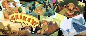 Part of the Google Doodle depicting Steve Irwin's life accomplishments. Irwin devoted his life to animal conservation, leading the Steve Irwin Conservation Foundation and the International Crocodile Rescue. Irwin also hosted multiple television series focused on nature and operated Australia Zoo. Despite his conservationism throughout his life, PETA took issue with Google's celebration of his life. [Picture credit: Google]