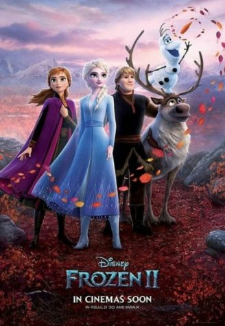 The Frozen Gang — Elsa, Anna, Kristoff, Olaf, and Sven — shown in a character poster which advertises the release of the movie.