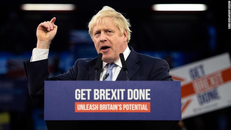 Boris Johnson at a rally. Credit: CNN