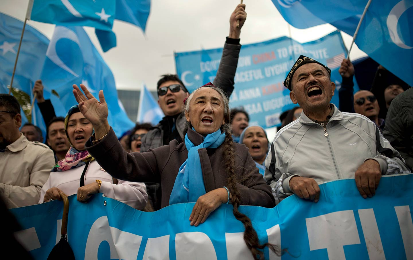 "Ethnically Turkish Uighurs, a Muslim minority living in China, actively protesting about the current detainment of Uighurs in China's ""re-education"" camps. Source: thenation.com"