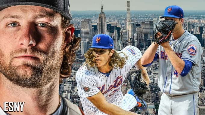 Left to Right: Newly signed Yankees starter Gerrit Cole, Mets starter Noah Syndergaard, Mets starter and reigning back-to-back Cy Young Champion Jacob deGrom