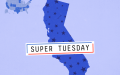 Cartoon of the stateswjere democratic elections happened on Super Tuesday, with California being the only state without a definite majority for one candidate.