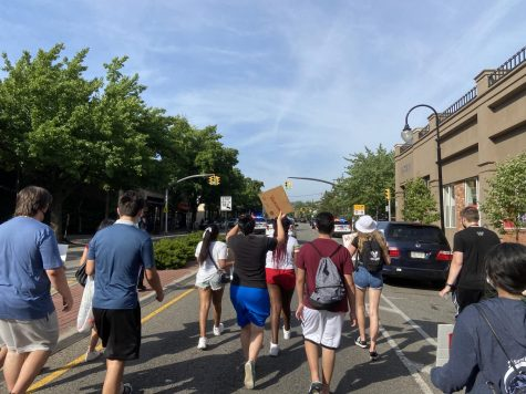 Protesters march through the streets of Great Neck while police cars clear the road. (Photo credit: Lauren Yu)