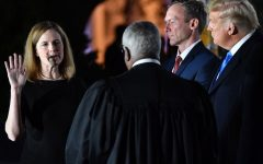 President Donald Trump and Jesse M. Barrett watch as Supreme Court Associate Justice Clarence Thomas swears in Amy Coney Barrett as a U.S. Supreme Court Associate Justice. (Credit: NPR)
