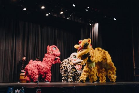 Students beat the drums as members of the Asian Cultural Club dance on stage in traditional Chinese lion costumes during the last live performance on March 30, 2019. (Credit: Great Neck North Asian Awareness Club on Facebook)