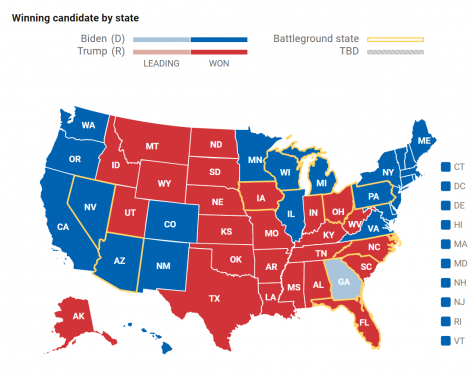 The 2020 presidential election results by state. (Credit: The Associated Press)