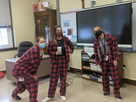 Social Studies teachers wearing their matching Pajamas.