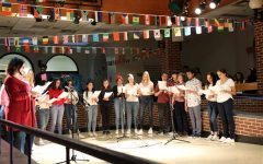 The French club performs a song at International Night on  March 19, 2019.