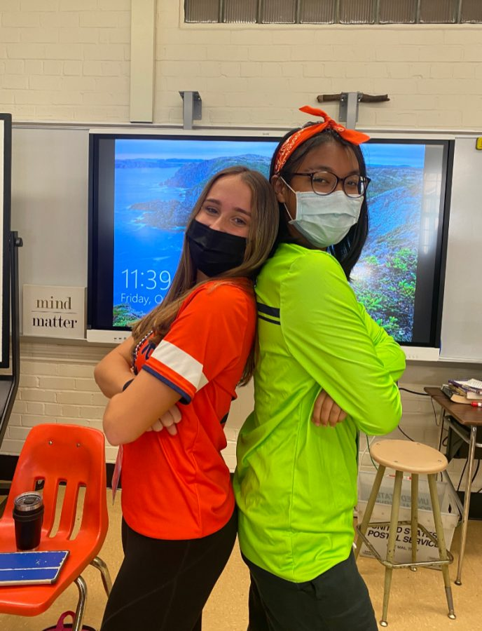 Seniors Adelia DeRose and May Tun were especially excited for today, especially considering that both of them are members of the girls varsity soccer team, which will be playing at homecoming (Credit: Ava Hoffman).