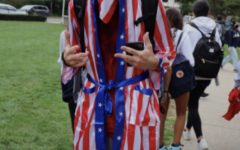 Sophomore Aaron Mashieh wears red, white and blue from head to toe.